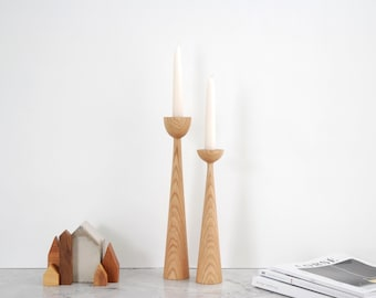 Victoria Oak set of 2 Handturned Minimalist Wood Candlestick Candle holder Mid-century Modern Scandinavian Slow design Hygge Simple