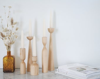 Gift Set of Maple Candle Holders Scandinavian Handturned Minimalist Wood Candlestick Candle holder Modern Slow design Hygge Simple