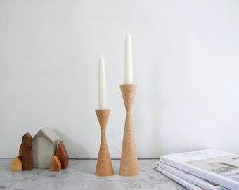 Bishop Oak set of 2 Handturned Wood Candlestick Candle holder Minimalist Scandinavian Decoration Mid Century Modern Slow design Hygge Simple