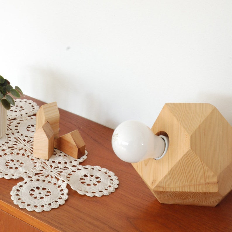 Geometric Hemlock Faceted Block Table Lamp  Wood Brass image 0