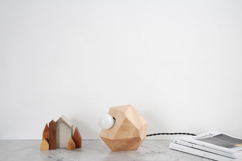 Maple Faceted Block Table Lamp Minimalist Modern Scandinavian image 0