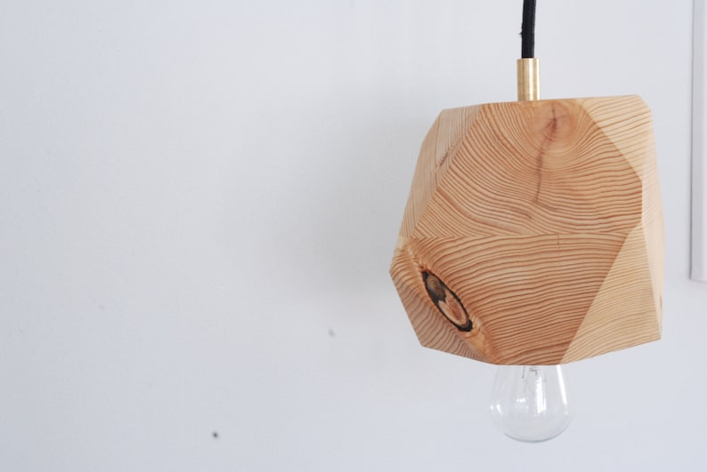 Geometric Hemlock Faceted Block Pendant Lamp  Wood Pendant image 0