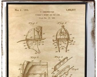 Firefighter Helmet Patent, Laser Cut Patent, Firefighter Helmet Blueprint, Firefighter Decor