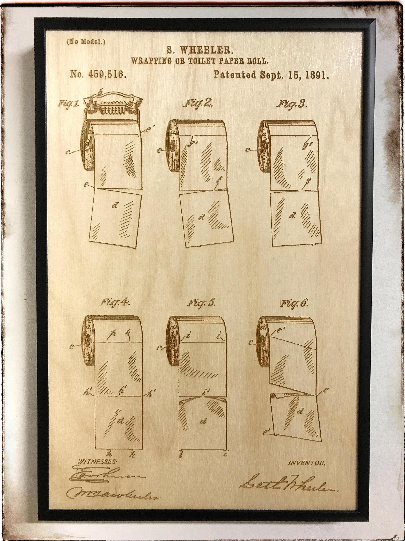 Toilet Paper Patent Artwork Laser Cut Patent Toilet Paper | Etsy
