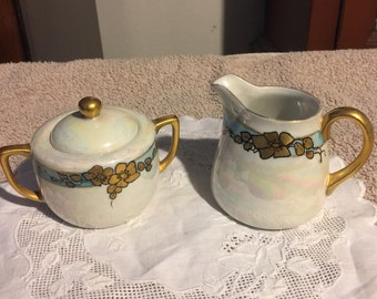 Hand Painted Lustre and Gold Creamer and sugar bowl - J. Casberg