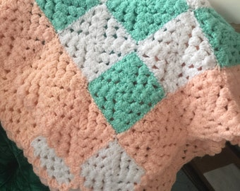 Vintage Hand Crochet Lap or Baby Blanket, throw, afghan - Granny Square Salmon, Mint, White (A2)