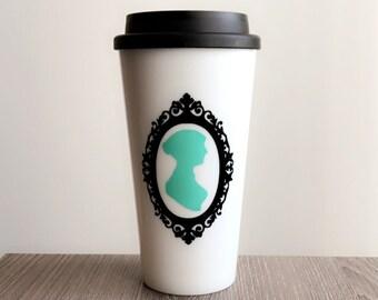 Jane Austen Silhouette Plastic Travel Mug, Jane Austen Mug, Jane Austen Tumbler, Pride & Prejudice, Mr. Darcy, Mint, Teal