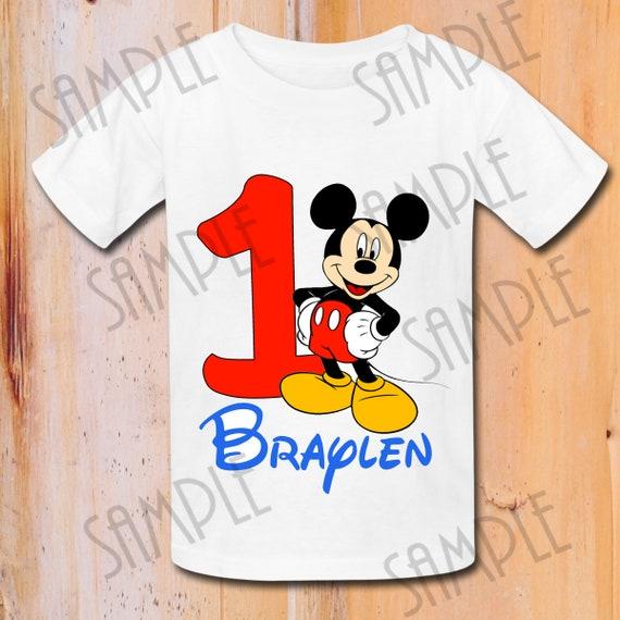 T Shirt Disney Mickey Mouse Verjaardag Ijzer Op Transfer Etsy