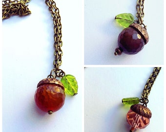 Acorn necklace - acorn charm - acorn pendant with agate - acorn jewelry - fall necklace - autumn necklace - agate necklace - gifts for her -