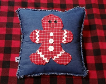 Blue Plaid Flower Pillow Cover; Summer Porch Pillow Green and Red Small Plaid Flower Raw Edge Applique 14x14 Pillow Cover Blue