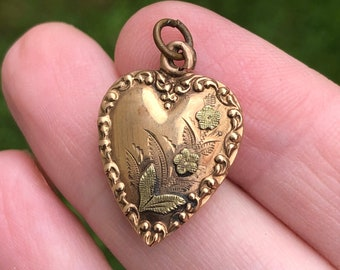 SALE Antique Victorian Puffy Heart Sterling Charm   Monogram EB Heart Pendant with Green Paste Starburst Gypsy Setting