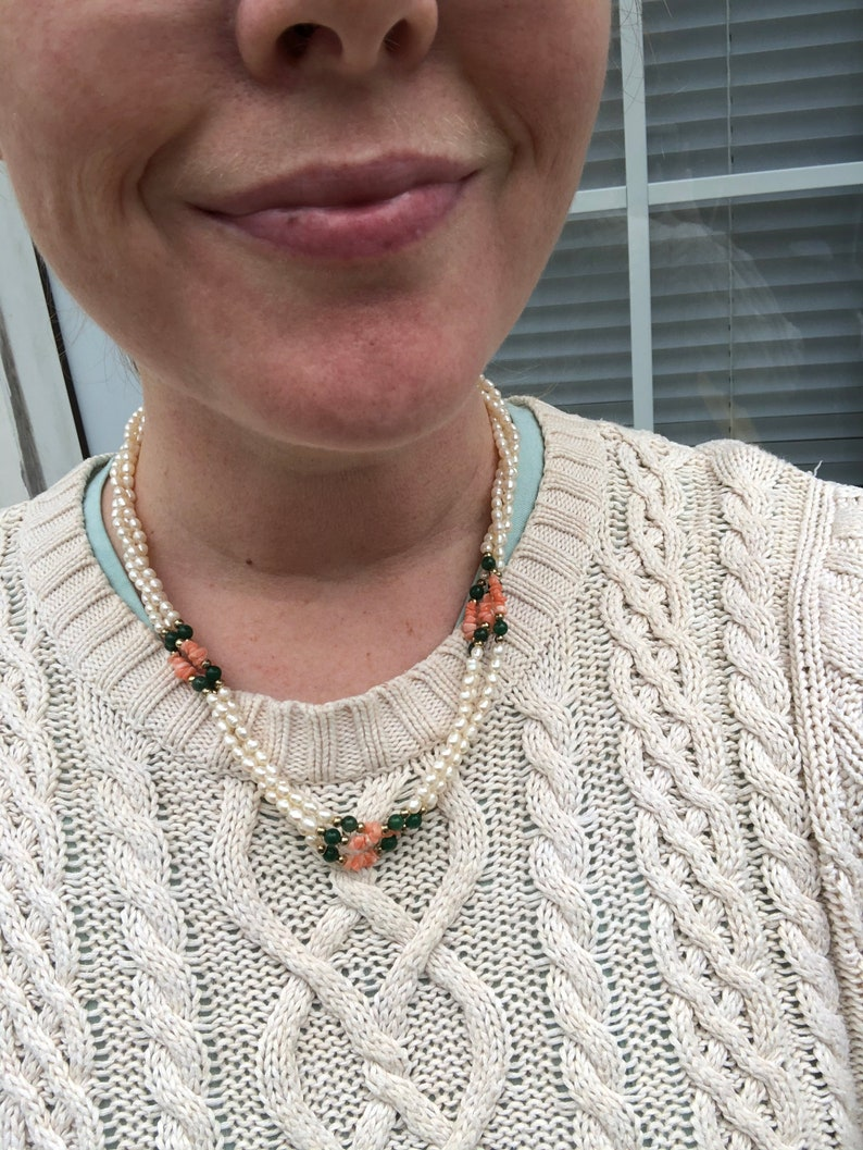 Vintage cultured pearl jade beads and coral chips necklace beautiful color combination!