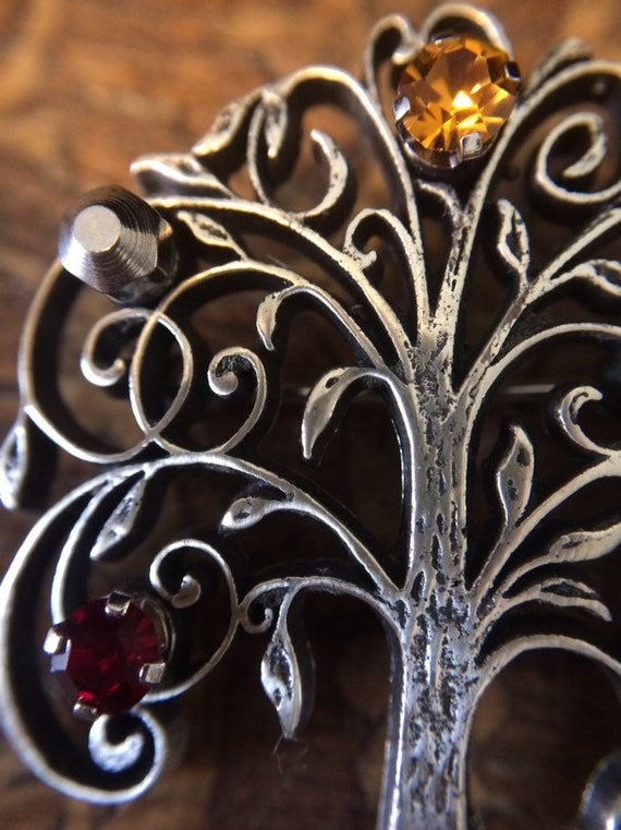 Vintage Anson handmade sterling 925 silver filigree tree brooch with rhinestone stamped Sterling Anson