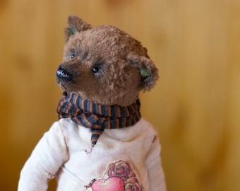 teddy bear George, Gift for her, collectible toy, teddy bear, exclusive, Handmade,   artist teddy bear, olegshatan,stuffed teddy bear