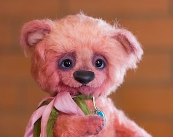 teddy bear Zefirka, Gift for her, collectible toy, teddy bear, exclusive, Handmade,  artist teddy bear, olegshatanstuffed teddy bear