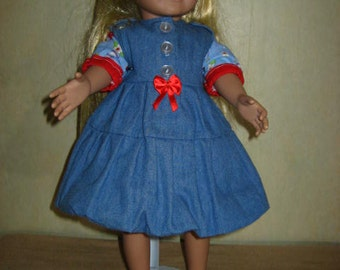 66bc0426fd 18 Inch American Doll Jumper Denim Red Blue Flower Birds Blouse Buttons Bow  Red Shoes Flower Decorationd.(263)