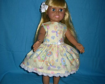34c3f63123 18 Inch American Doll Dress Yellow Butterflies Multi Color White Flower Trim  Bow Light Green Shoes White Lace Hair Bow Eyelet Lace Trim(199)