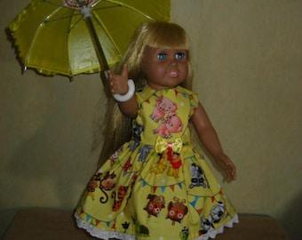 e8192e00e7 18 Inch American Doll Dress Yellow Baby Animals Bow Trim White Eyelet Lace  Trim Yellow Shoes Umbrella.(258).