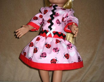 27f0a32e6a 18 Inch American Doll Valentine Dress Pink Lady Bugs Hearts Rick Rack Red  Trim White Crochet Hat Red Shoes.(163).