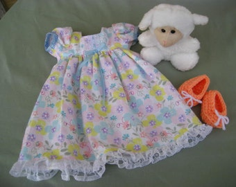 99fc7e4ec8 18 Inch American Doll Spring Nightgown Pastel Floral Satin Ribbon Lace White  Peach Slippers Stuffed Lamb Toy.(172).
