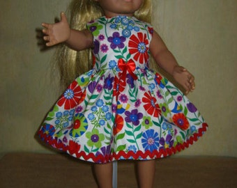 db11738712 18 Inch American Doll Dress Flowers Multi Color Red Bow Rick Rack Trim Blue  Buttons Red Patent Shoes Colorful Sunglasses.(257).