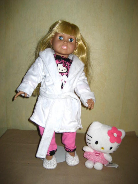 9ebb985097 18 Inch American Doll Pajama Robe Set Hello Kitty Flannel Top