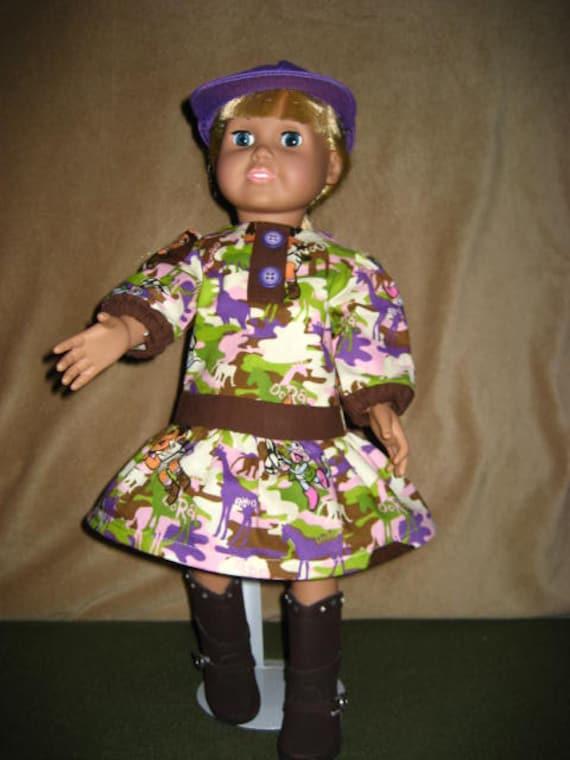 f04542d697 SALE 18 Inch American Doll Dress Long Sleeve Dora Camo Brown