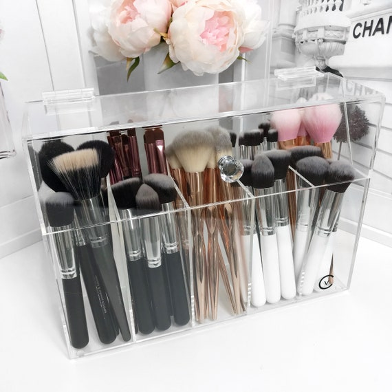 Brush Holder with lid , Acrylic makeup Storage organiser