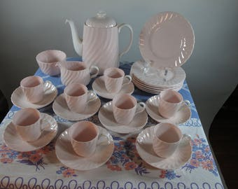 More SALE Now! 40% Off! Only Made For One Year! Gorgeous 27 Piece 1947 Minton Shell Pink Demitasse Coffee Set Service for 8!!