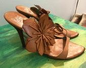 Vintage women 39 s sandals - shoes - pumps - white leather sandals Rodolphe Manudier - French design chic sandals size 7 1 2