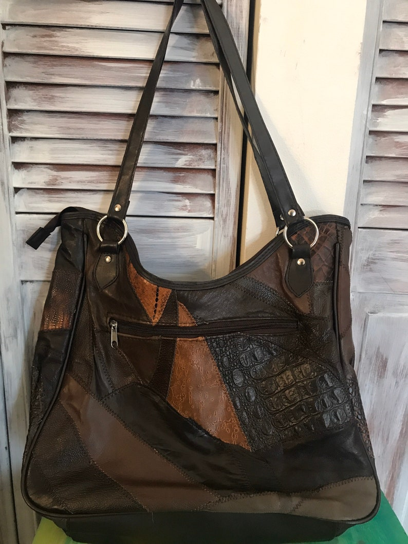 in brown brown leather 80 years to wear on the shoulder Vintage patchwork handbag