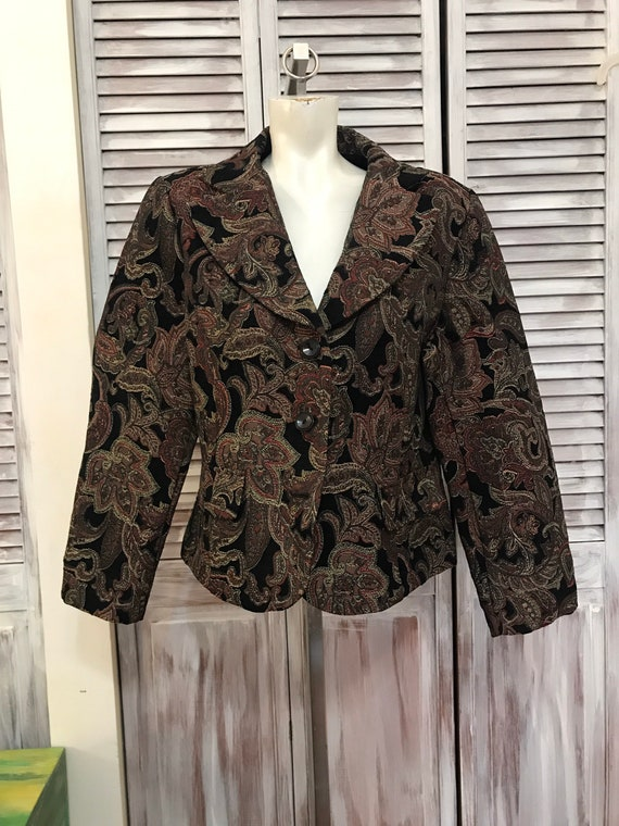 Vintage women's veston - paisley pattern blazer -