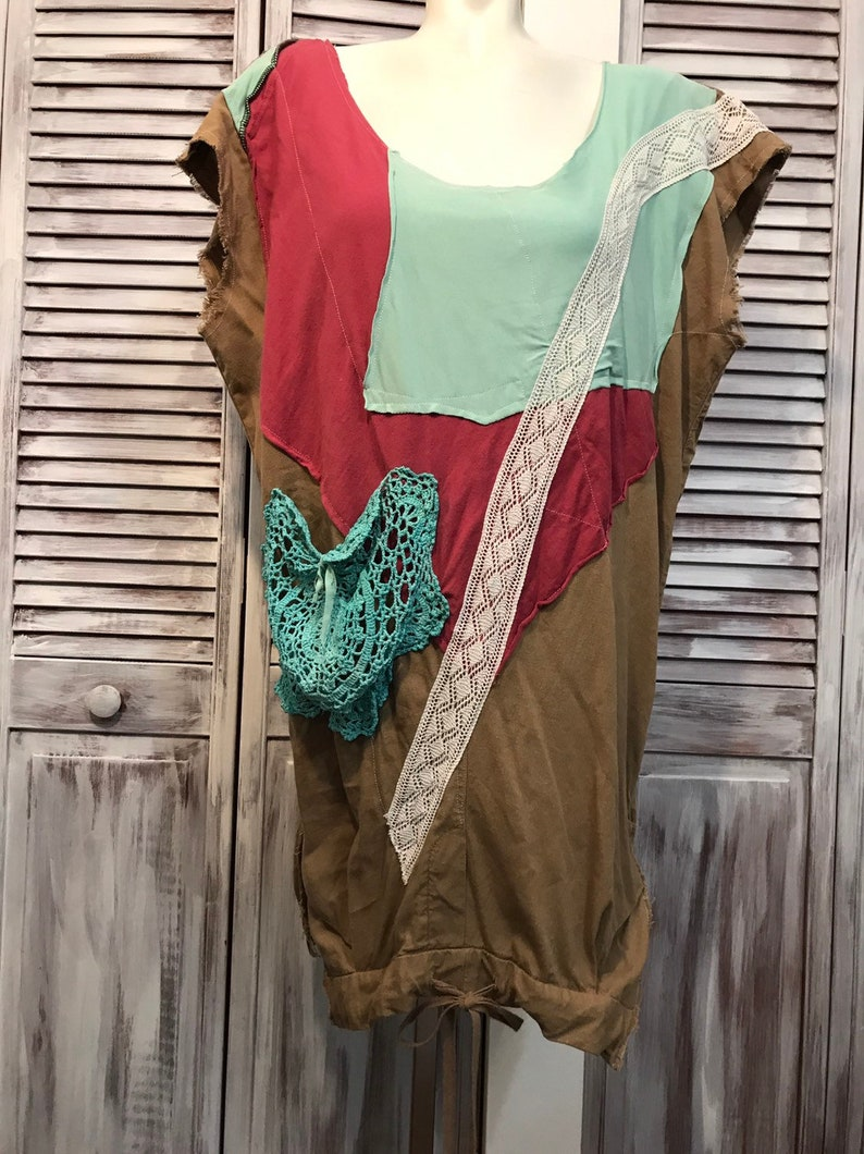 turquoise and Red Dress up cycled clothing-plus size-tunic boho-loose dress-unique tunic dress-one size-beige Brown