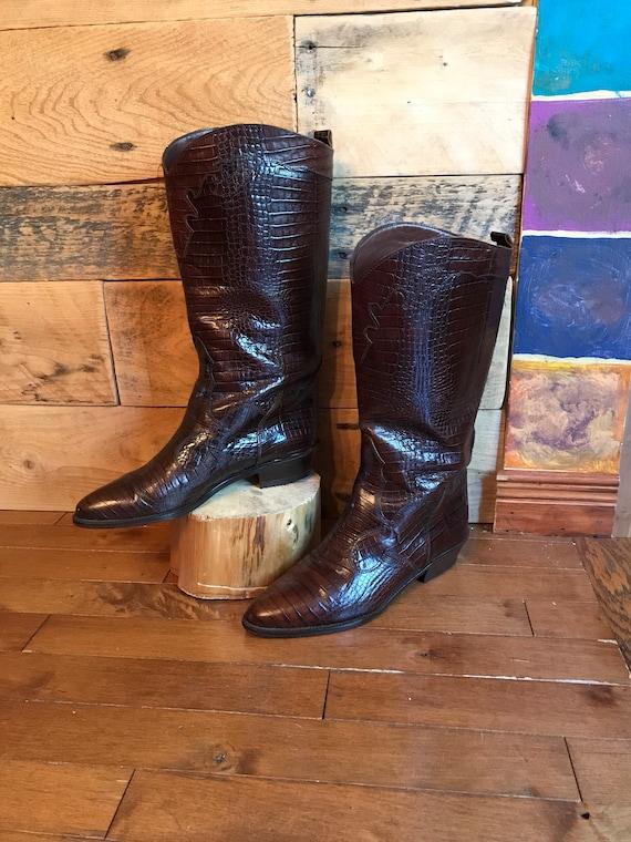 12b2744ac2b Cowboy boot shoe woman 90s imitation leather dark brown