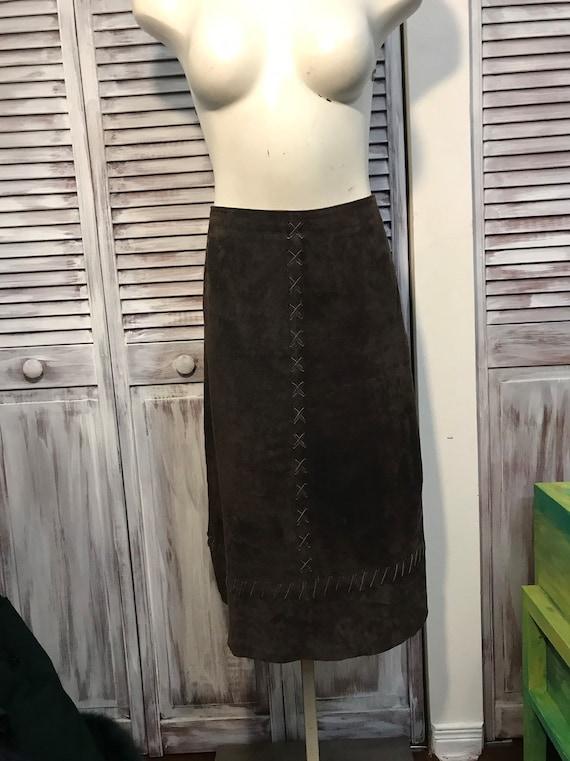 Vintage suede skirt - leather - brown brown suede