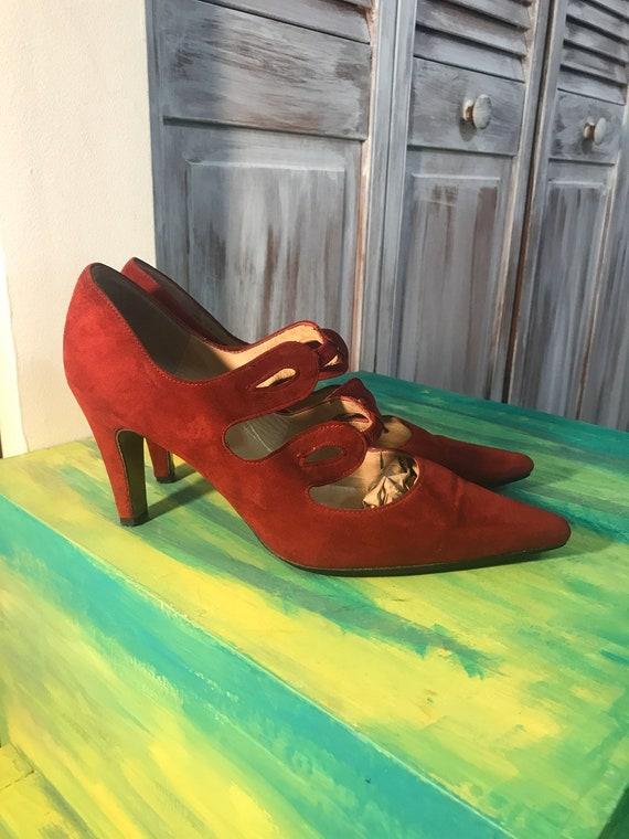 red vintage women's suede shoe - Peter Kaiser heel