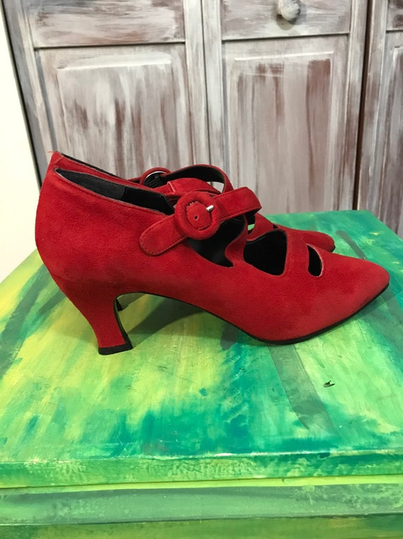 Red vintage shoes - red women's 90s suede shoes -… - image 6