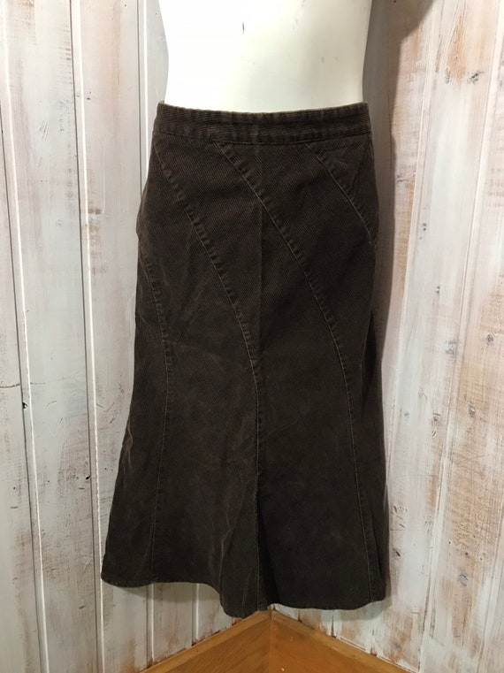 Skirt - brown corduroy maxi skirt - 90s - size xs
