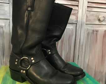 Cowboy Boots Vintage Woman Boulet - square-end boots in black leather size 8 makes great