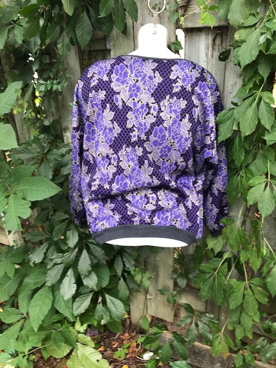 Sweater purple 90/'s 1xlarge knitting flowers print sweater