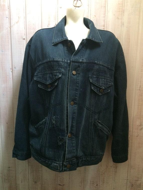 Jeans jacket vintage , veste jeans  Année 80 over
