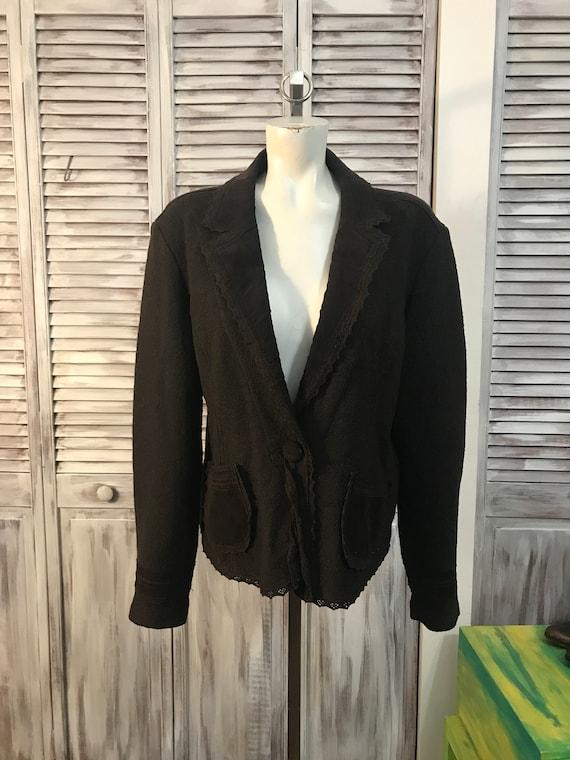 Veste femme vintage en laine bouillie couleur brun