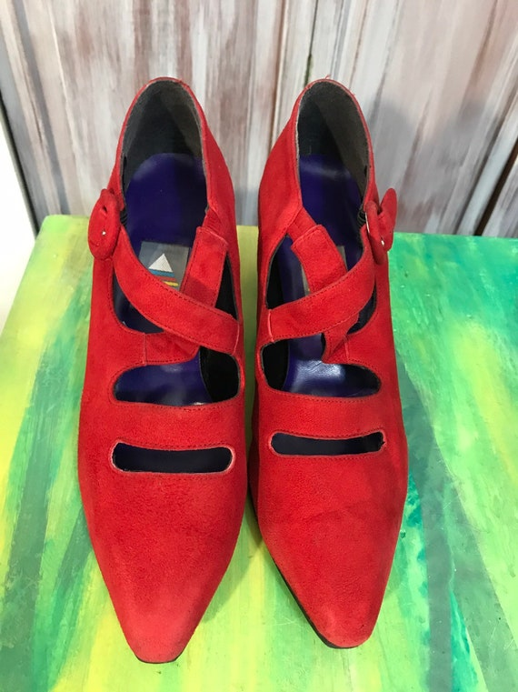 Red vintage shoes - red women's 90s suede shoes -… - image 4