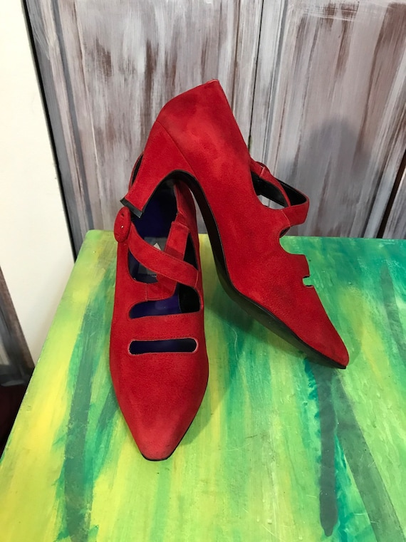 Red vintage shoes - red women's 90s suede shoes -… - image 3