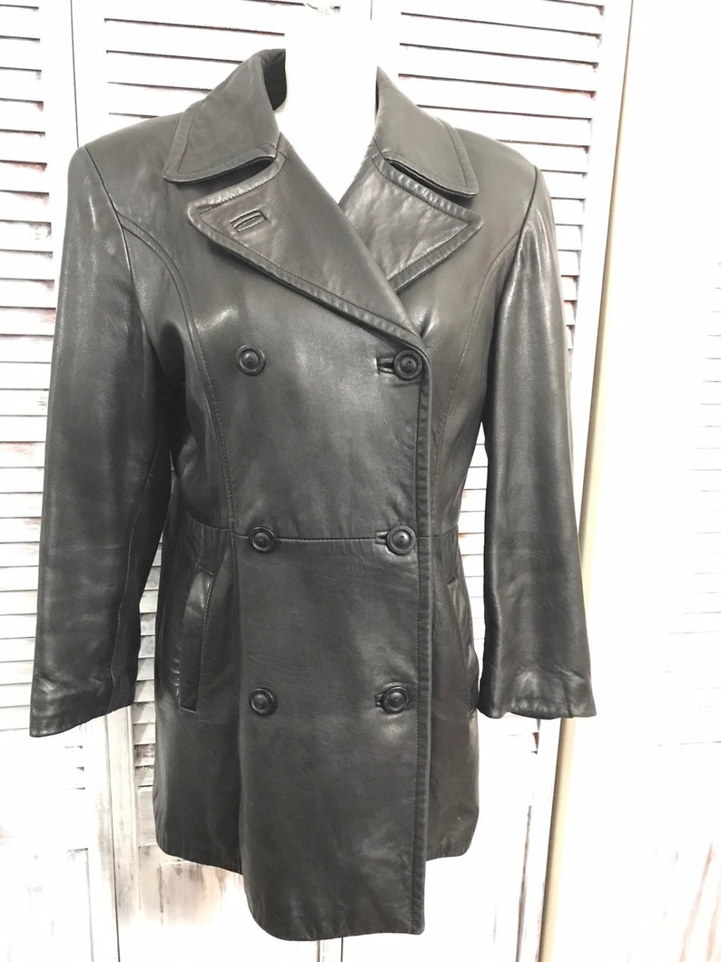 size large Coat leather vintage 90s women of leather jacket black very good condition