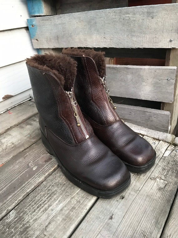 Vintage women's winter square-to-end boot - brown