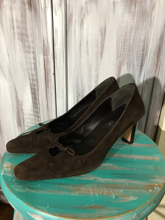 Shoes women - brown suede - pointy square toe - 90