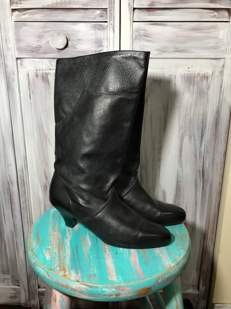 black vintage little heel-size 7 soft leather boot shoe Boot woman black pumps tip pointed round-high boots