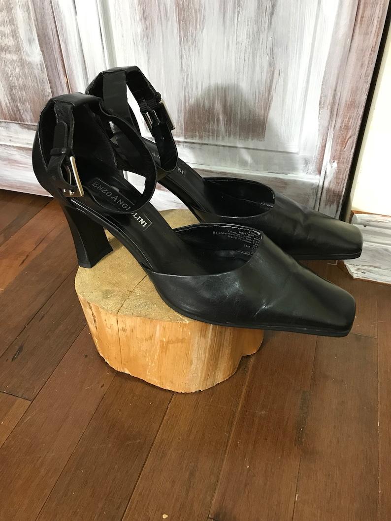 214e4c6394a Shoes - Vintage - woman - Enzo Angiolini - square toe shoes - size 9 -  black leather