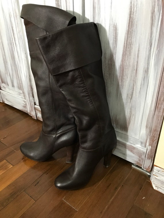 Boot - High - thigh boot - brown - brown - leather